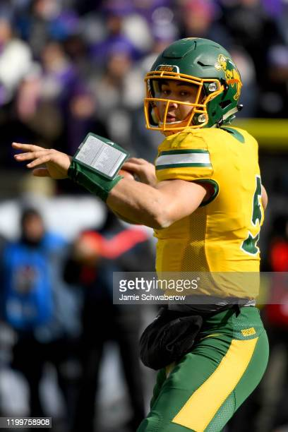 Trey Lance of the North Dakota State Bison throws against the James Madison Dukes during the Division I FCS Football Championship held at Toyota...