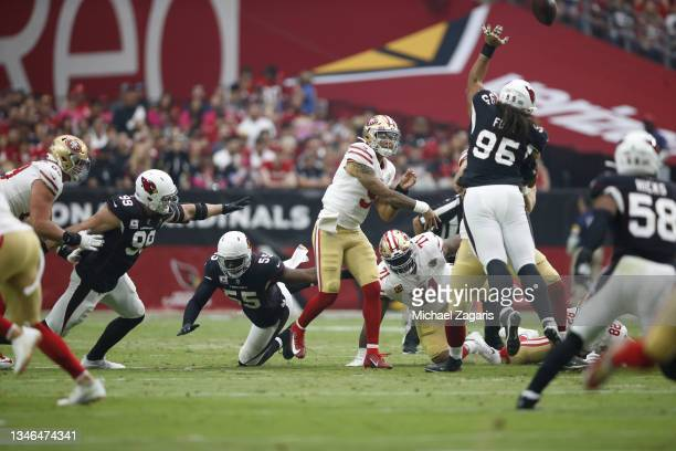 Trey Lance of the San Francisco 49ers passes during the game against the Arizona Cardinals at State Farm Stadium on October 10, 2021 in Glendale,...