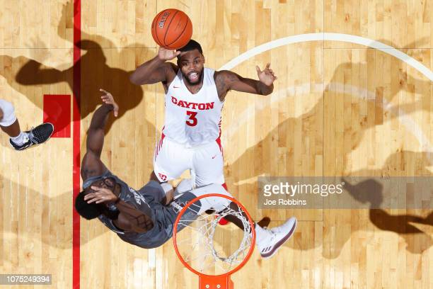 Trey Landers of the Dayton Flyers drives to the basket against the Mississippi State Bulldogs in the first half of the game at UD Arena on November...