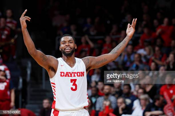Trey Landers of the Dayton Flyers reacts in the second half of the game against the Mississippi State Bulldogs at UD Arena on November 30 2018 in...