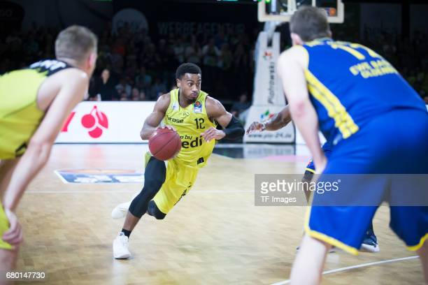 Trey Lewis of medi bayreuth in action during the easyCredit BBL match between medi bayreuth and EWE Baskets Oldenburg at Oberfrankenhalle on May 5...