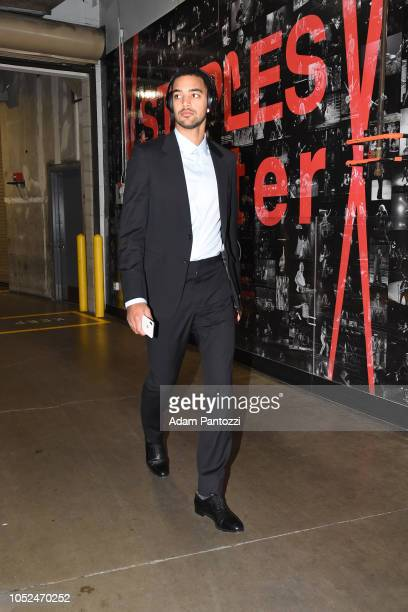 Trey Lyles of the Denver Nuggets arrives to the arena before a game against the LA Clippers on October 17 2018 at Staples Center in Los Angeles...