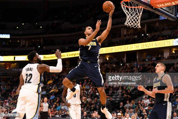 Trey Lyles of the Denver Nuggets drives against the Memphis Grizzlies at Pepsi Center on January 12 2018 in Denver Colorado NOTE TO USER User...