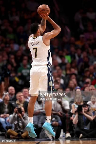 Trey Lyles of the Denver Nuggets puts up a shot against the Boston Celtics at the Pepsi Center on January 29 2018 in Denver Colorado NOTE TO USER...