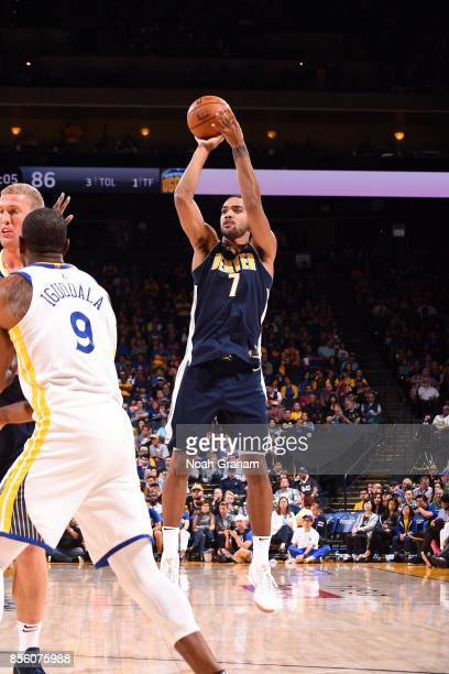 Trey Lyles of the Denver Nuggets shoots the ball during the game against the Golden State Warriors during a preseason game on September 30 2017 at...