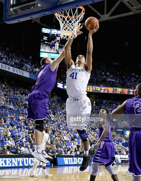 Trey Lyles of the Kentucky Wildcats shoots the ball during the game against the Grand Canyon Antelopes at Rupp Arena on November 14 2014 in Lexington...