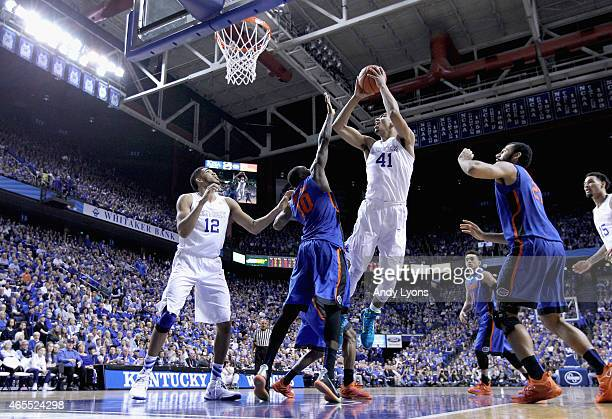 Trey Lyles of the Kentucky Wildcats shoots the ball during the game against the Florida Gators at Rupp Arena on March 7 2015 in Lexington Kentucky