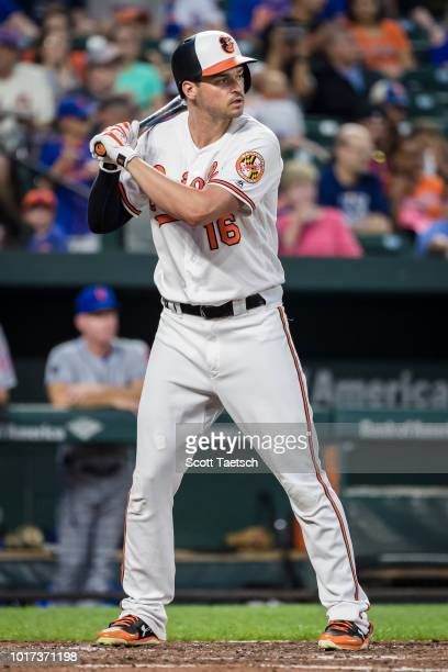 Trey Mancini of the Baltimore Orioles at bat against the New York Mets during the fourth inning at Oriole Park at Camden Yards on August 14 2018 in...