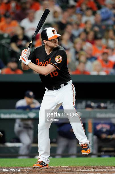 Trey Mancini of the Baltimore Orioles bats against the Houston Astros at Oriole Park at Camden Yards on September 28 2018 in Baltimore Maryland