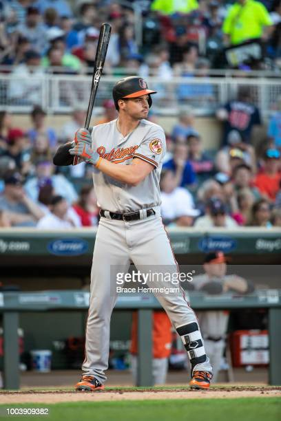 Trey Mancini of the Baltimore Orioles bats against the Minnesota Twins on July 5 2018 at Target Field in Minneapolis Minnesota The Twins defeated the...