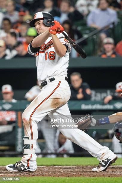 Trey Mancini of the Baltimore Orioles bats against the Minnesota Twins on May 22 2017 at Oriole Park at Camden Yards in Baltimore Maryland The Twins...