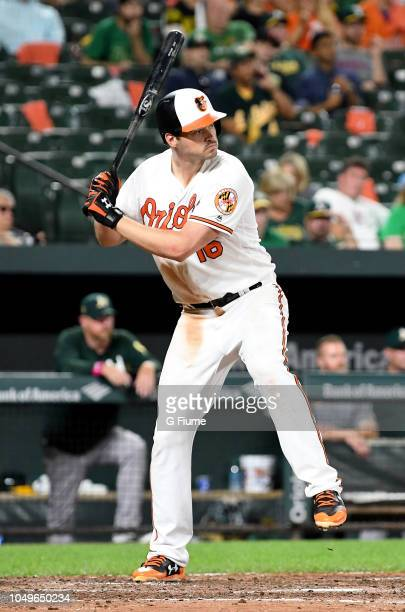 Trey Mancini of the Baltimore Orioles bats against the Oakland Athletics at Oriole Park at Camden Yards on September 13 2018 in Baltimore Maryland