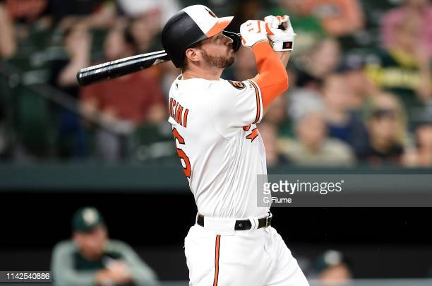 Trey Mancini of the Baltimore Orioles bats against the Oakland Athletics at Oriole Park at Camden Yards on April 9 2019 in Baltimore Maryland