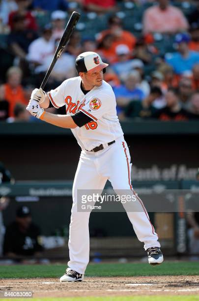 Trey Mancini of the Baltimore Orioles bats against the Oakland Athletics at Oriole Park at Camden Yards on August 23 2017 in Baltimore Maryland