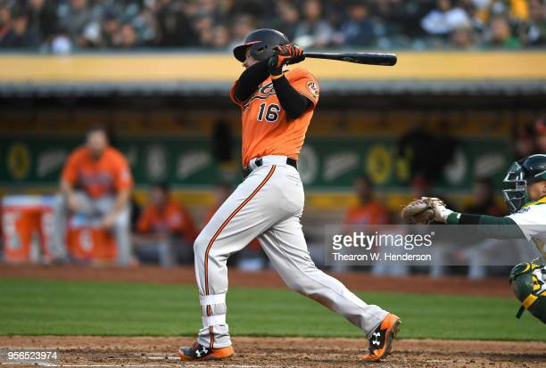 Trey Mancini of the Baltimore Orioles bats against the Oakland Athletics in the top of the fifth inning at the Oakland Alameda Coliseum on May 5 2018...