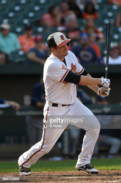 Trey Mancini of the Baltimore Orioles bats against the Tampa Bay Rays at Oriole Park at Camden Yards on September 24 2017 in Baltimore Maryland