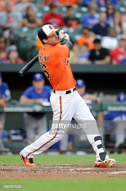 Trey Mancini of the Baltimore Orioles bats against the Texas Rangers at Oriole Park at Camden Yards on July 13 2018 in Baltimore Maryland