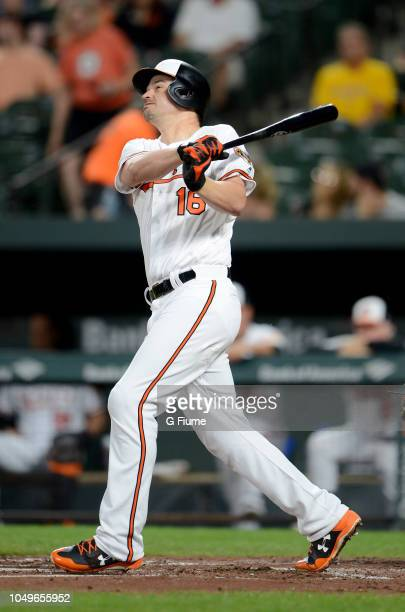 Trey Mancini of the Baltimore Orioles bats against the Toronto Blue Jays at Oriole Park at Camden Yards on September 18 2018 in Baltimore Maryland