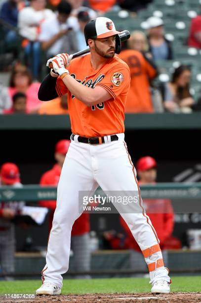 Trey Mancini of the Baltimore Orioles bats during the third inning against the Los Angeles Angels at Oriole Park at Camden Yards on May 11 2019 in...
