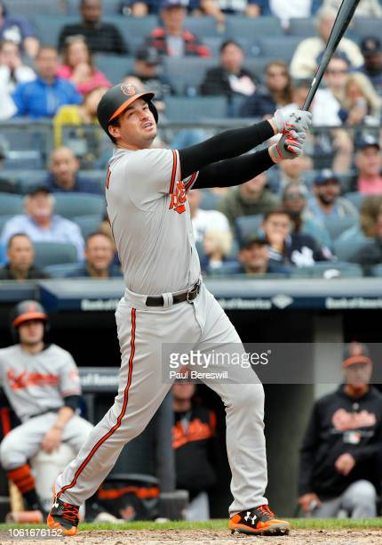 Trey Mancini of the Baltimore Orioles bats in an MLB baseball game against the New York Yankees on September 23 2018 at Yankee Stadium in the Bronx...