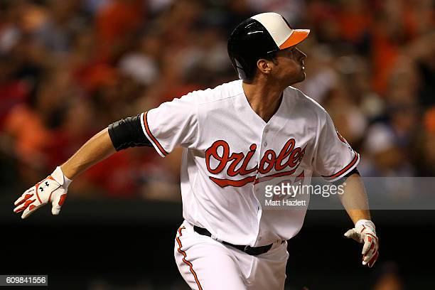 Trey Mancini of the Baltimore Orioles celebrates after hitting a three run home run in the third inning against the Boston Red Sox at Oriole Park at...