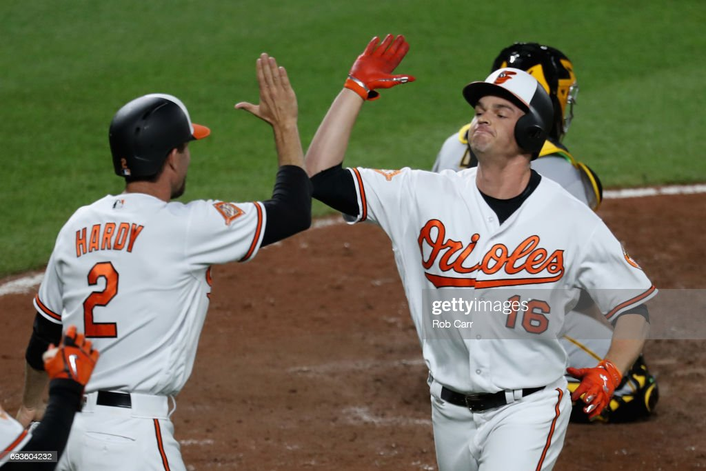 Trey Mancini #16 of the Baltimore Orioles celebrates with J.J. Hardy #2 after hitting a two RBI home run in the ninth inning against the Pittsburgh Pirates at Oriole Park at Camden Yards on June 7, 2017 in Baltimore, Maryland.