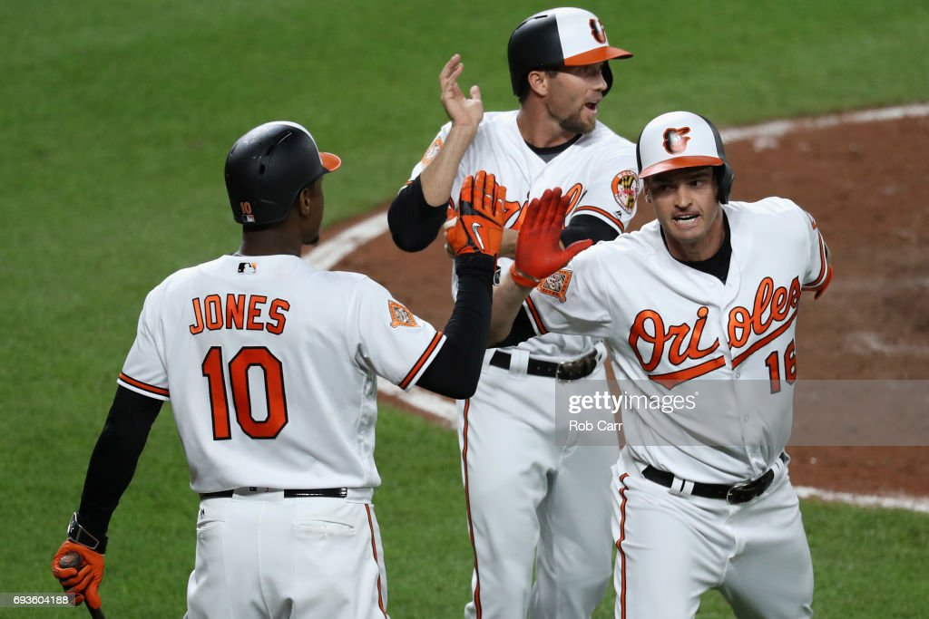 Trey Mancini #16 of the Baltimore Orioles celebrates with J.J. Hardy #2 and Adam Jones #10 after hitting a two RBI home run in the ninth inning against the Pittsburgh Pirates at Oriole Park at Camden Yards on June 7, 2017 in Baltimore, Maryland.