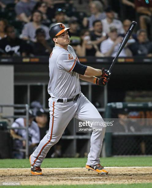 Trey Mancini of the Baltimore Orioles follows the flight of his three run home run in the 8th inning against the Chicago White Sox at Guaranteed Rate...
