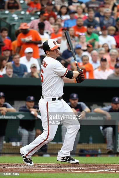 Trey Mancini of the Baltimore Orioles fouls off a pitch against the Cleveland Indians at Oriole Park at Camden Yards on June 22 2017 in Baltimore...