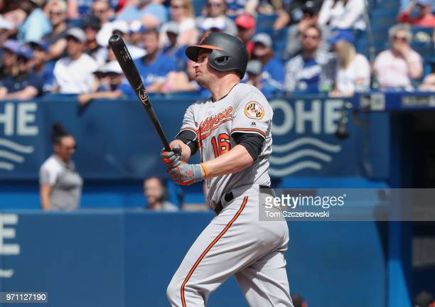 Trey Mancini of the Baltimore Orioles hits a double in the seventh inning during MLB game action against the Toronto Blue Jays at Rogers Centre on...