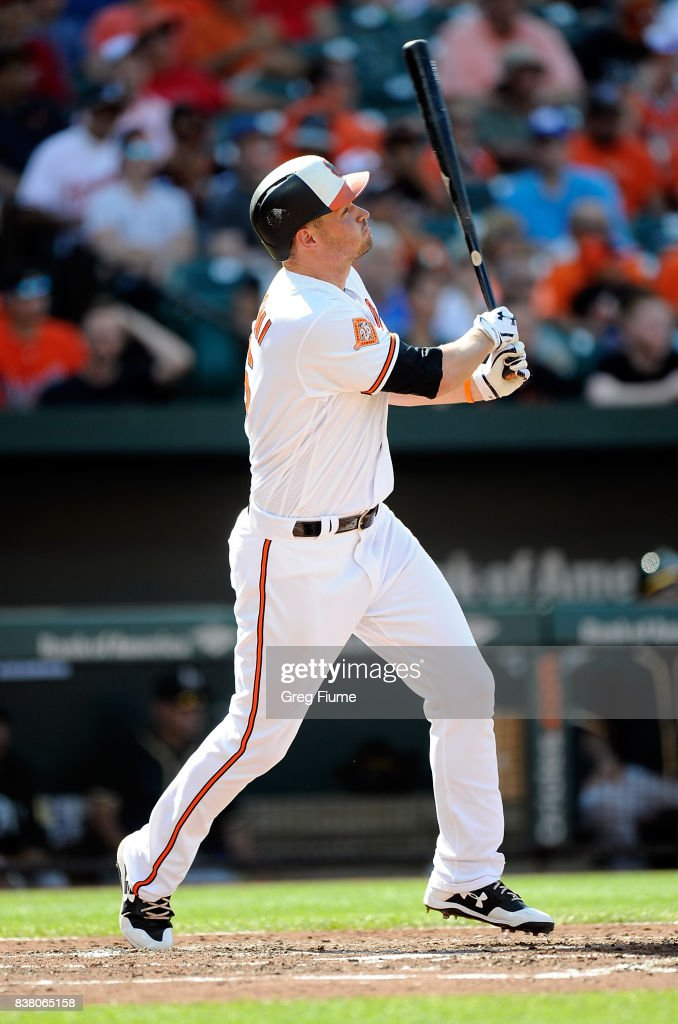 Trey Mancini #16 of the Baltimore Orioles hits a three-run home run in the fourth inning against the Oakland Athletics at Oriole Park at Camden Yards on August 23, 2017 in Baltimore, Maryland.