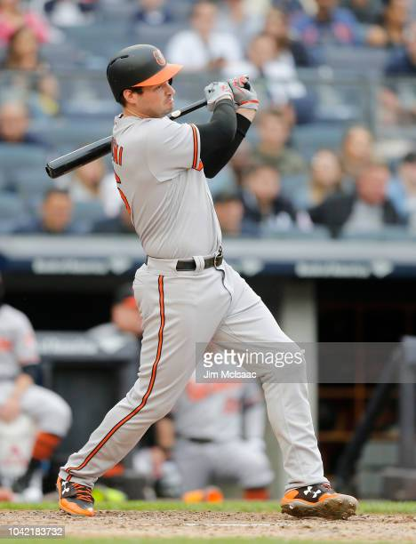 Trey Mancini of the Baltimore Orioles in action against the New York Yankees at Yankee Stadium on September 23 2018 in the Bronx borough of New York...