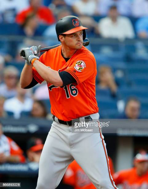 Trey Mancini of the Baltimore Orioles in action against the New York Yankees at Yankee Stadium on September 16 2017 in the Bronx borough of New York...