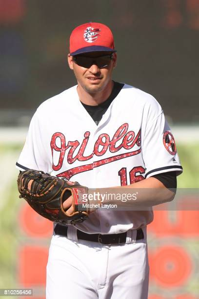 Trey Mancini of the Baltimore Orioles in position during a baseball game against the Tampa Bay Rays at Oriole Park at Camden Yards on July 1 2017 in...