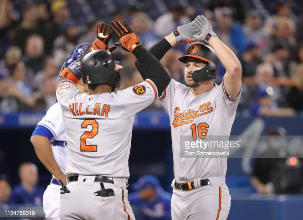 Trey Mancini of the Baltimore Orioles is congratulated by Jonathan Villar after hitting a threerun home run in the ninth inning during MLB game...