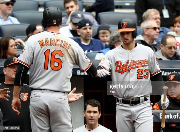 Trey Mancini of the Baltimore Orioles is congratulated by teammate Joey Rickard after Mancini scored in the sxith inning against the New York Yankees...