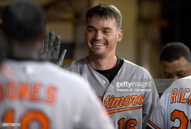 Trey Mancini of the Baltimore Orioles is congratulated by teammates after Mancini hit his second solo home run of the game against the Oakland...