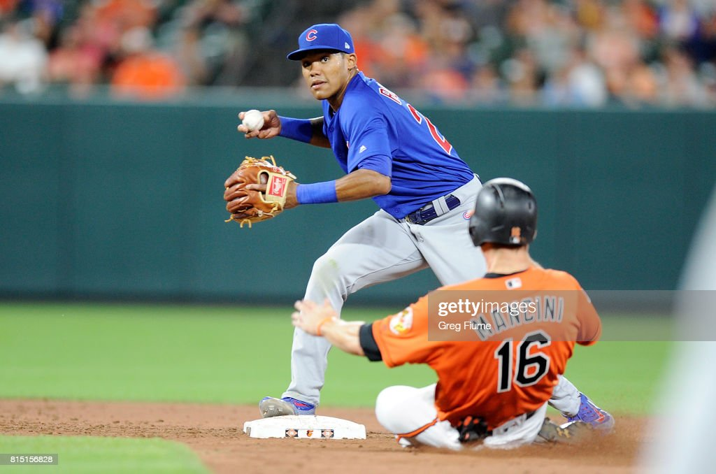 Trey Mancini #16 of the Baltimore Orioles is forced out at second base in the ninth inning by Addison Russell #27 of the Chicago Cubs at Oriole Park at Camden Yards on July 15, 2017 in Baltimore, Maryland.