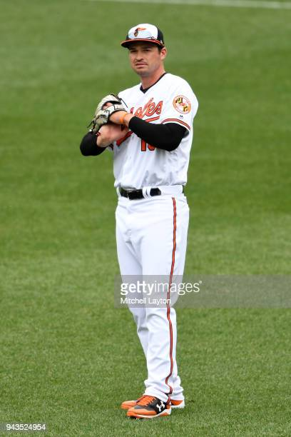 Trey Mancini of the Baltimore Orioles looks on a baseball game against the Minnesota Twins at Oriole Park at Camden Yards on April 1 2018 in...