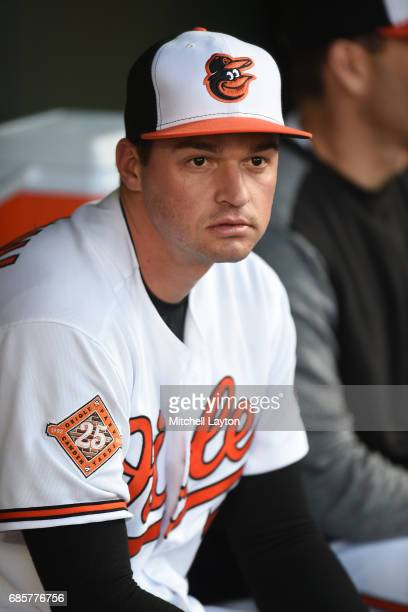 Trey Mancini of the Baltimore Orioles looks on before a baseball game against the Washington Nationals at Oriole Park at Camden Yards on May 8 2017...