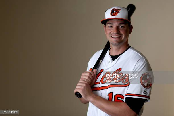 Trey Mancini of the Baltimore Orioles poses for a photo during photo days at Ed Smith Stadium on February 20 2018 in Sarasota FL