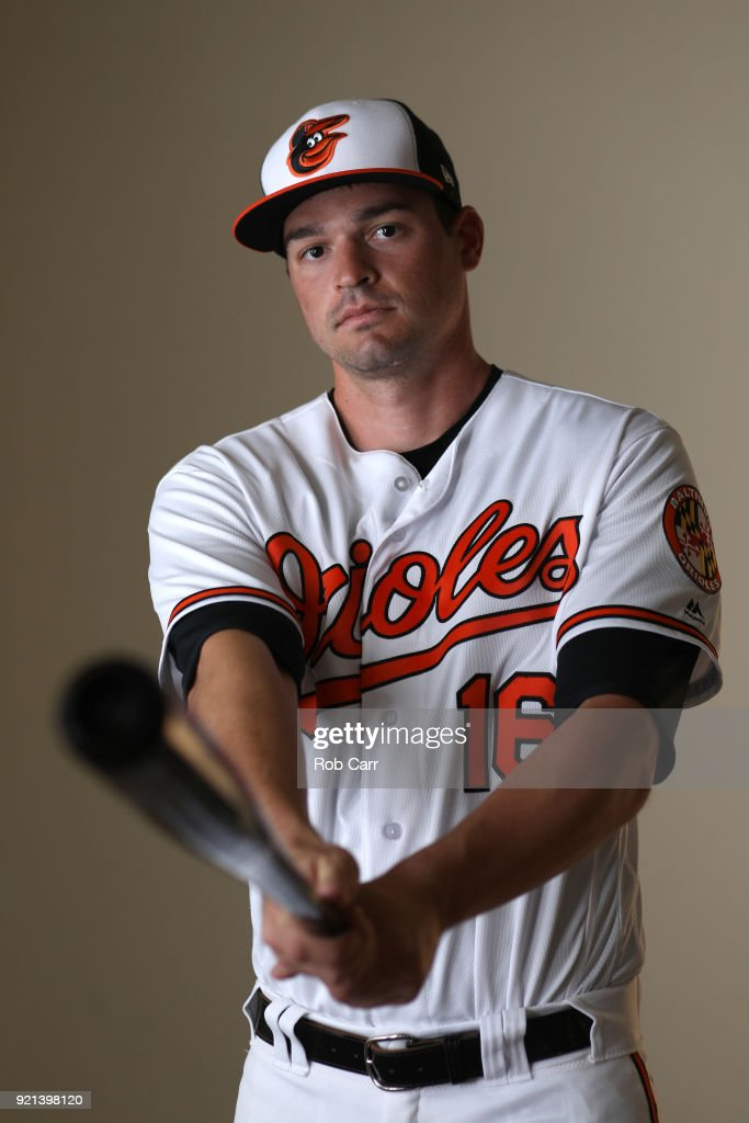 Trey Mancini #16 of the Baltimore Orioles poses for a photo during photo days at Ed Smith Stadium on February 20, 2018 in Sarasota, FL.