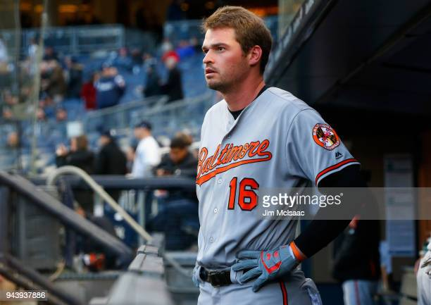 Trey Mancini of the Baltimore Orioles prepares for a game against the New York Yankees at Yankee Stadium on April 5 2018 in the Bronx borough of New...