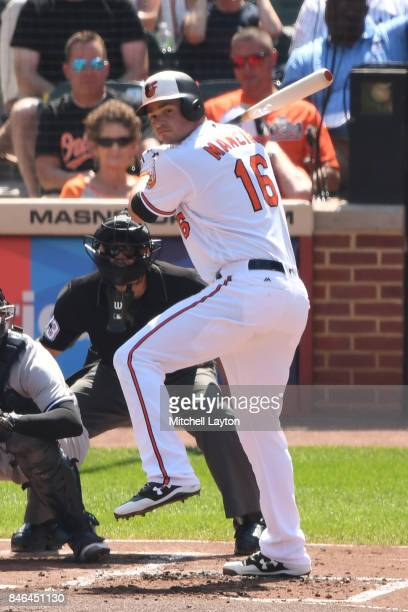 Trey Mancini of the Baltimore Orioles prepares for a pitch during a baseball game against the New York Yankees at Oriole Park at Camden Yards on...