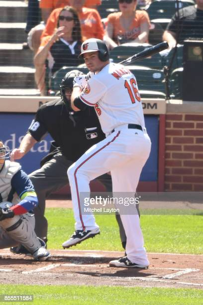 Trey Mancini of the Baltimore Orioles prepares for a pitch during a baseball game against the Tampa Bay Rays at Oriole Park at Camden Yards on...