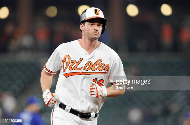 Trey Mancini of the Baltimore Orioles rounds the bases after hitting a threerun home run in the sixth inning against the Toronto Blue Jays at Oriole...
