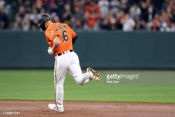 Trey Mancini of the Baltimore Orioles rounds the bases after hitting a solo home run against the New York Yankees in the first inning at Oriole Park...