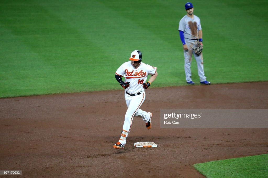 Trey Mancini #16 of the Baltimore Orioles rounds the bases after hitting a two RBI home run against the Kansas City Royals in the fourth inning at Oriole Park at Camden Yards on May 10, 2018 in Baltimore, Maryland.