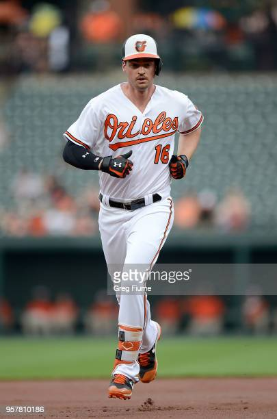 Trey Mancini of the Baltimore Orioles rounds the bases after hitting a home run in the first inning against the Tampa Bay Rays during the second game...