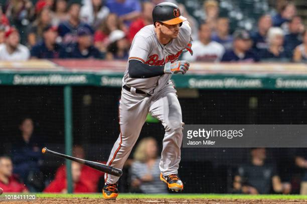 Trey Mancini of the Baltimore Orioles runs out an RBI single during the eighth inning against the Cleveland Indians at Progressive Field on August 17...